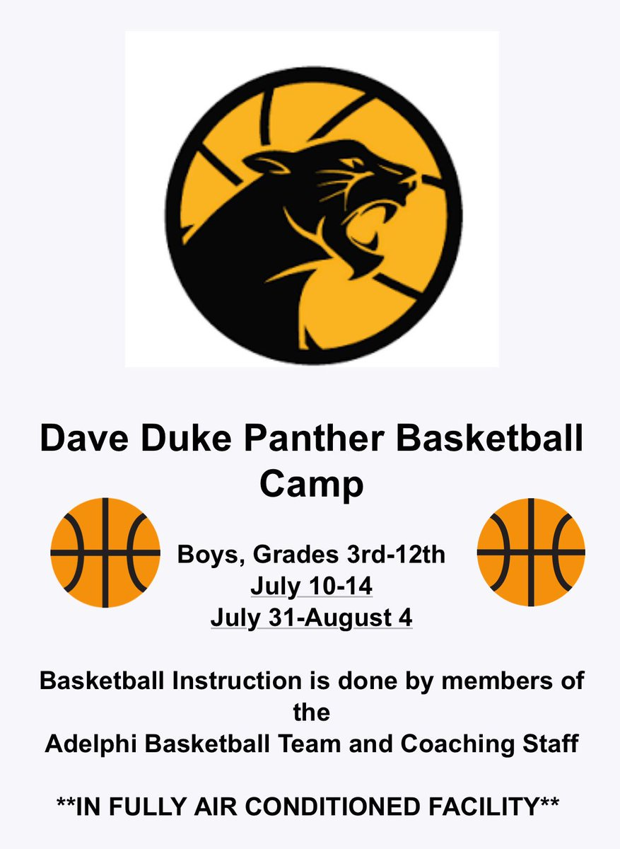 Looking forward to seeing all the great kids at our summer camp this year. #hailadelphi #panther #adelphi #summerbasketball #basketball<br>http://pic.twitter.com/zCnsgO2WbJ