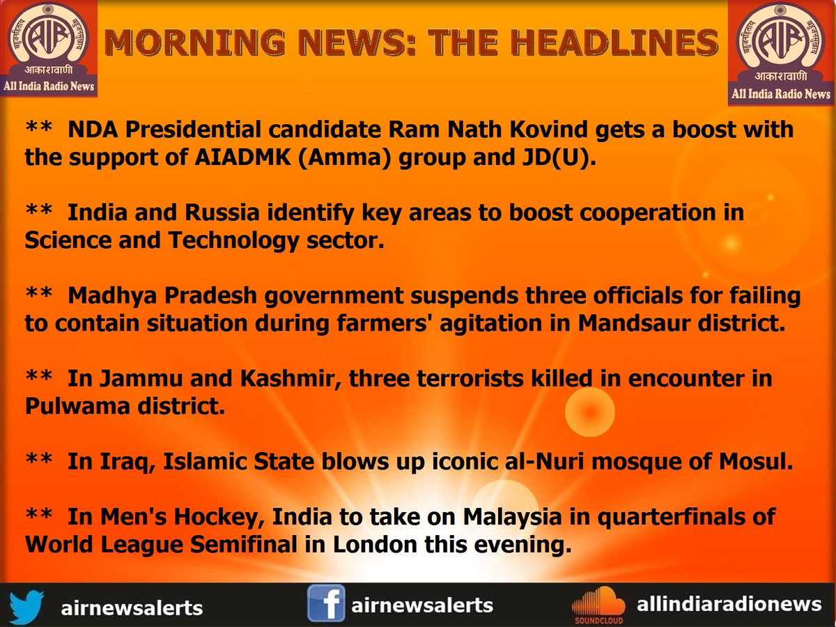 All India Radio presents Morning #News  The #Headlines: <br>http://pic.twitter.com/4rpGDuX80B