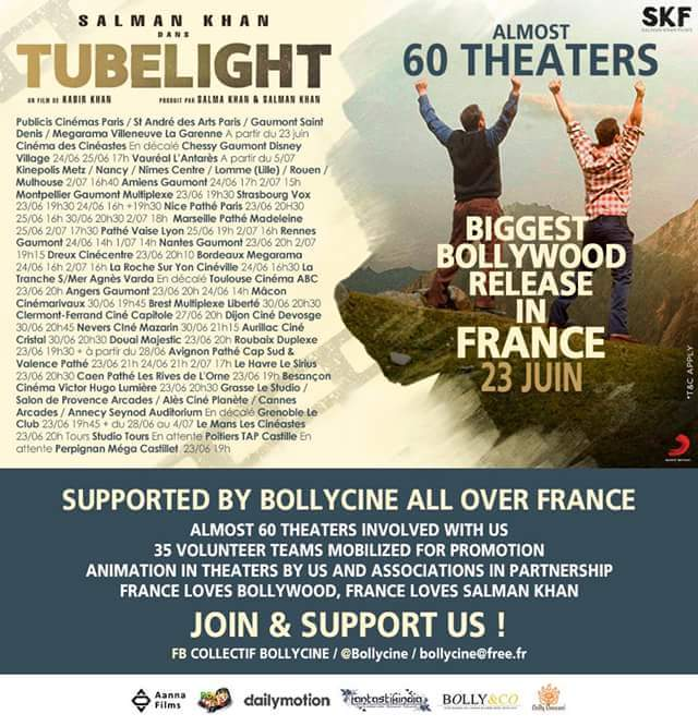 Huge congratulations to Sarah BJ (@Timoontouch), @Bollycine @BeingHuman_Euro for releasing #Tubelight  in such a grand level in #France.  <br>http://pic.twitter.com/v9aN8MHFnM