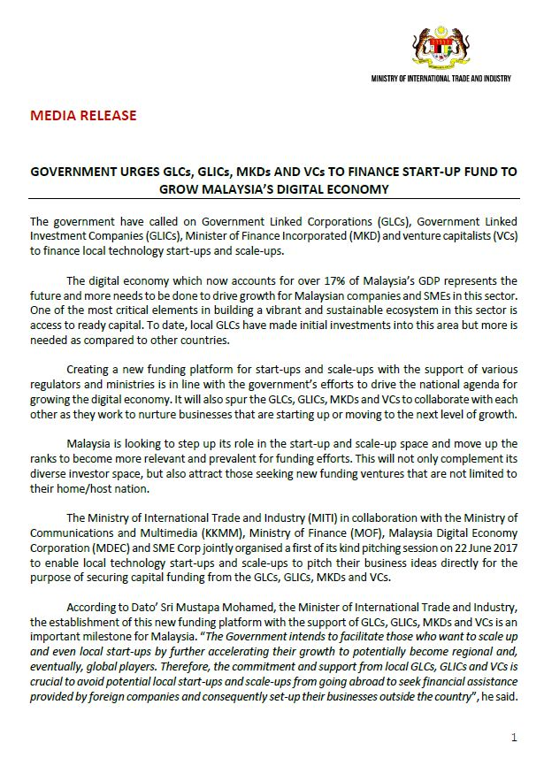 Miti Malaysia On Twitter Media Release Government Urges Glcs Glics Mkds And Vcs To Finance Start Up Fund To Grow Malaysia S Digital Economy Tokpa Comms Https T Co Ysrdnatilh