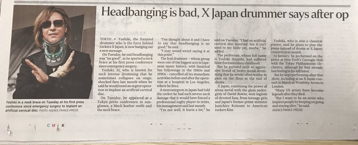 @YoshikiOfficial Newspaper article from @STcom Singapore!  #TeamYoshiki @Yoshiki_Staff<br>http://pic.twitter.com/6vUhF9h2vk