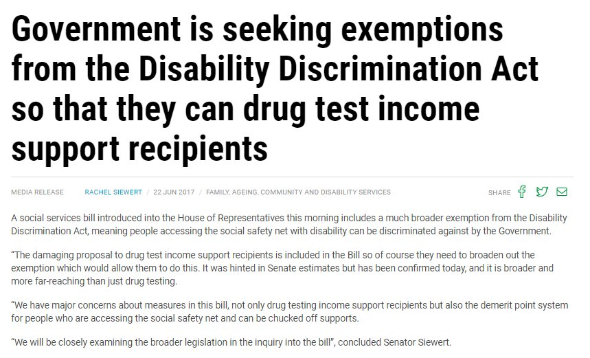 Govt new Welfare Reform bill seeks to exempt drug testing  from Disability Discrimination Act #Newstart #disability<br>http://pic.twitter.com/XDoJQqUaaa