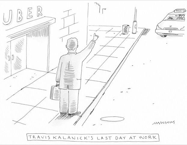 Nicely done by the @NewYorker. Travis Kalanick's last day at work. https://t.co/GWqD8RqF3R