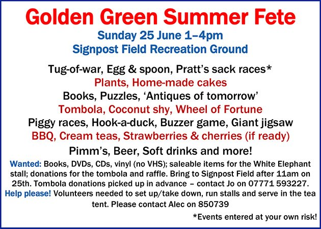Don&#39;t forget the #Golden #Green Summer Fete this Sunday!  http:// hadlowpc.co.uk/golden-green-s ummer-fete-sunday-25th-june/ &nbsp; … <br>http://pic.twitter.com/RSydc3Zd4G