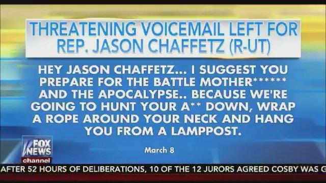 When will the violent rhetoric stop?! Threatening voicemail left for Rep. Jason Chaffetz (R-UT)