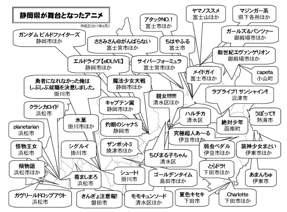 静岡県が舞台となったアニメMAP。度々ですが何作か追加してみましたw そろそろ限界が近いww #静岡アニメ https://t.co/h5Xv1qtkJj