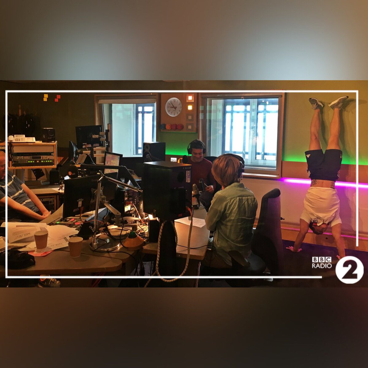 I caught up with @achrisevans & @VassosA on @BBCRadio2 to talk #HandstandDay . Catch my upside down interview here