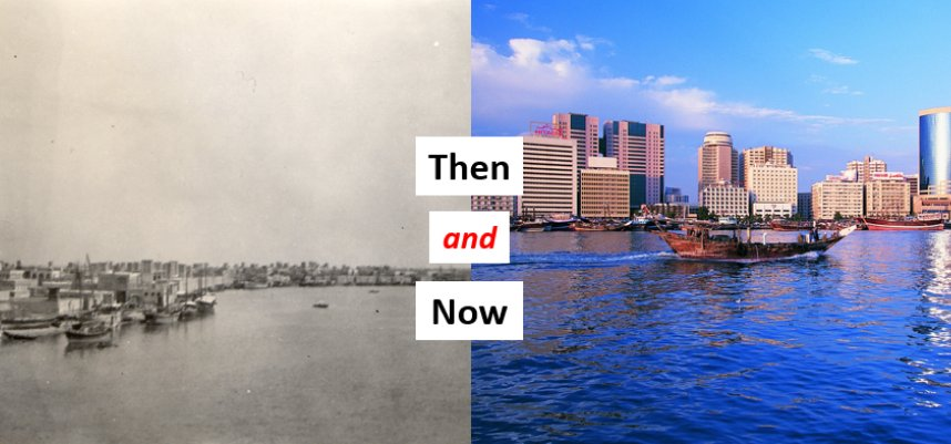 Then and now: the view across #Dubai creek in the 1950s, and today's D...