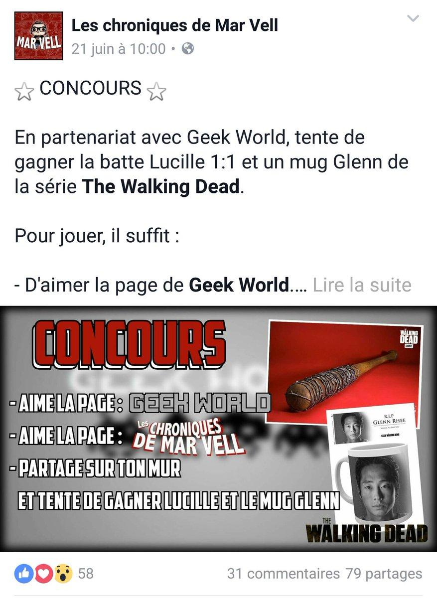 Un concours est organisé sur Facebook !     https:// m.facebook.com/story.php?stor y_fbid=1982960681934911&substory_index=0&id=1449480341949617  …   #TheWalkingDead #Lucille #Glennpic.twitter.com/9F1C4GzIYA