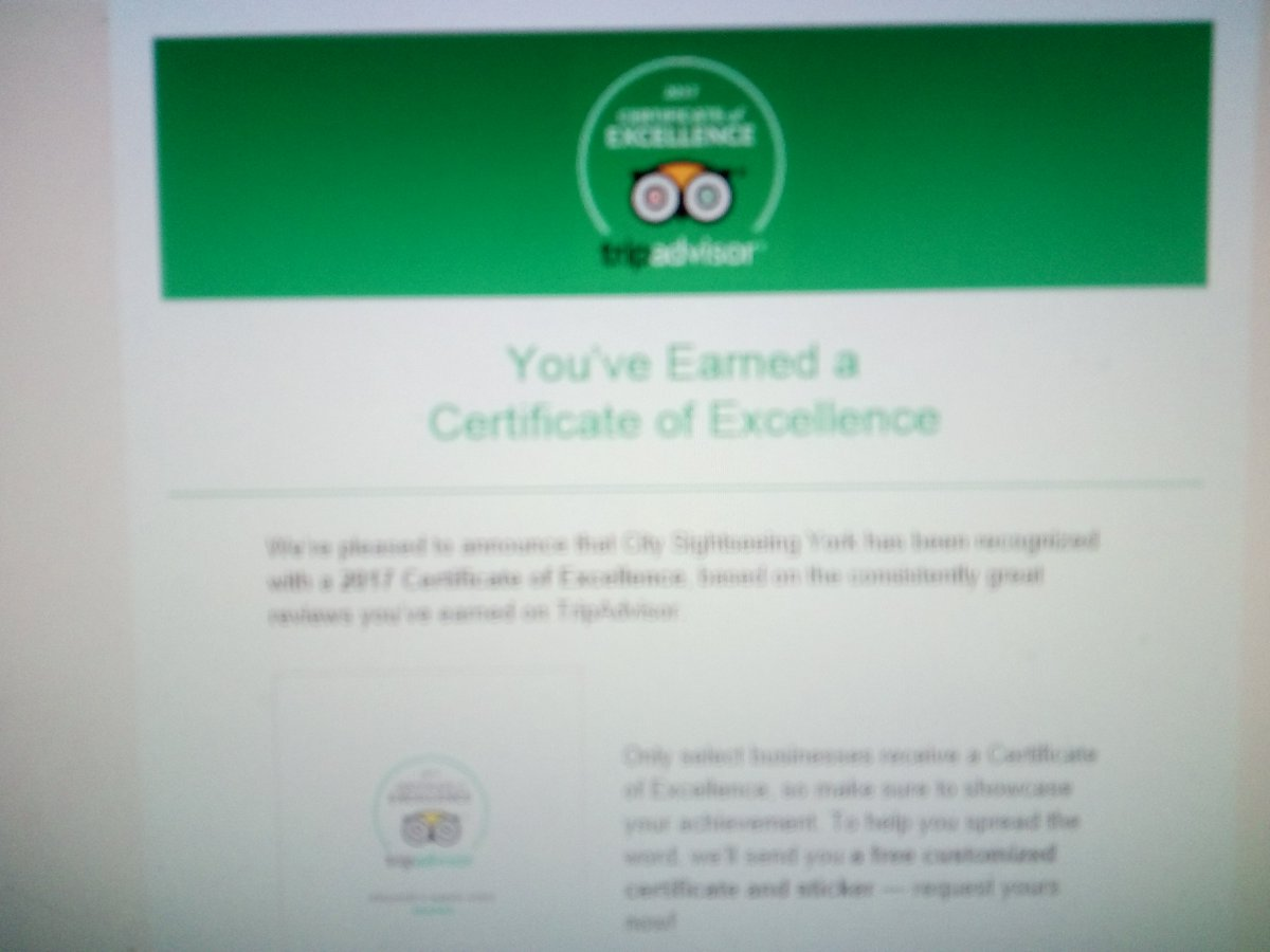 Just sending off for our certificate of excellence 2017. Now #10th in tours of #York<br>http://pic.twitter.com/GtbW3Z61uI