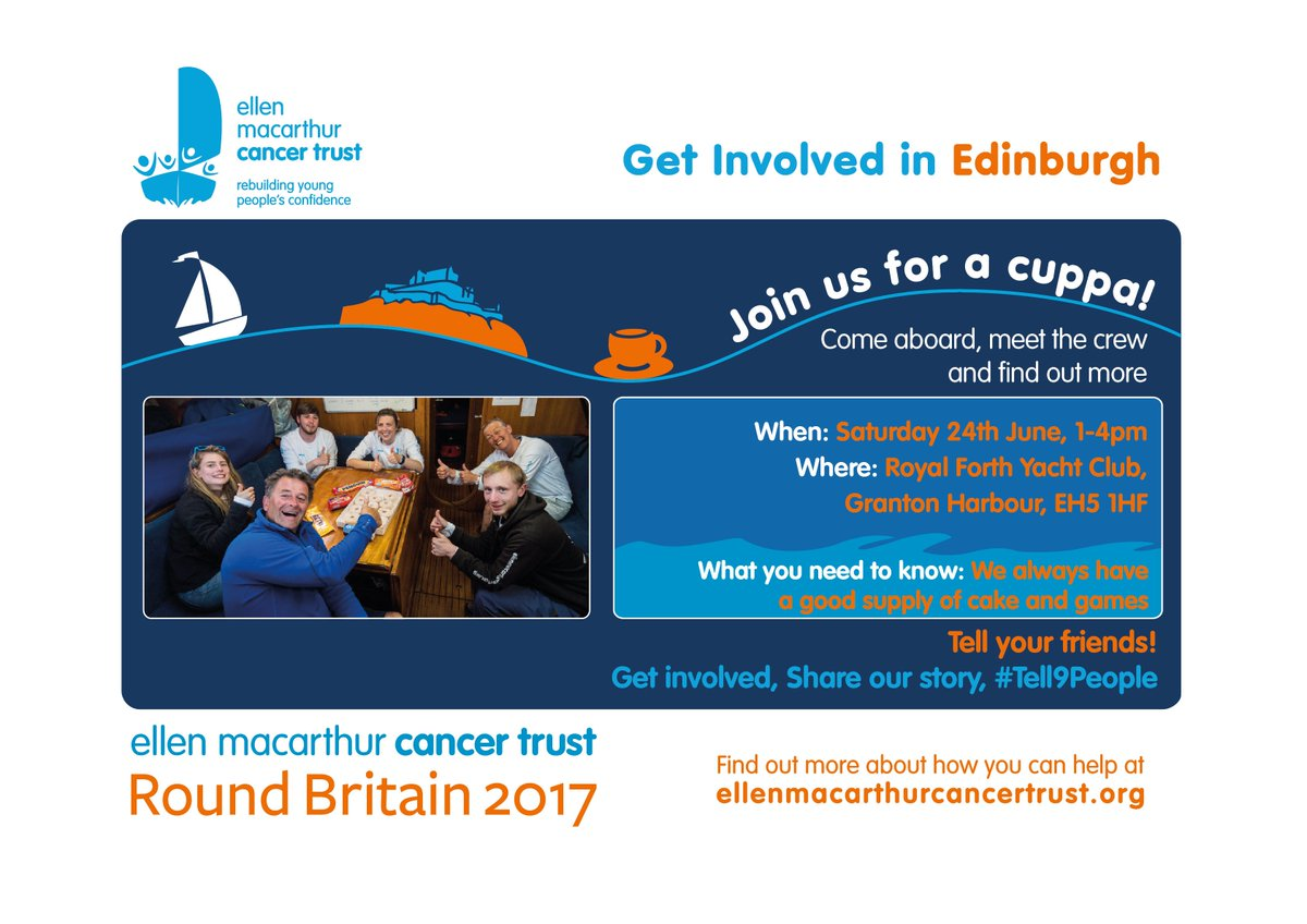 Get Involved #Edinburgh! Come and see our #RoundBritain2017 team on Sat @RoyalForth 1-4pm #Tell9People https://t.co/zXNGNOM2iD