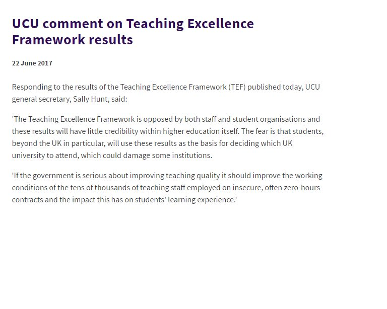 UCU response to the #TEFresults #Tef https://t.co/ePY5yIcDu3