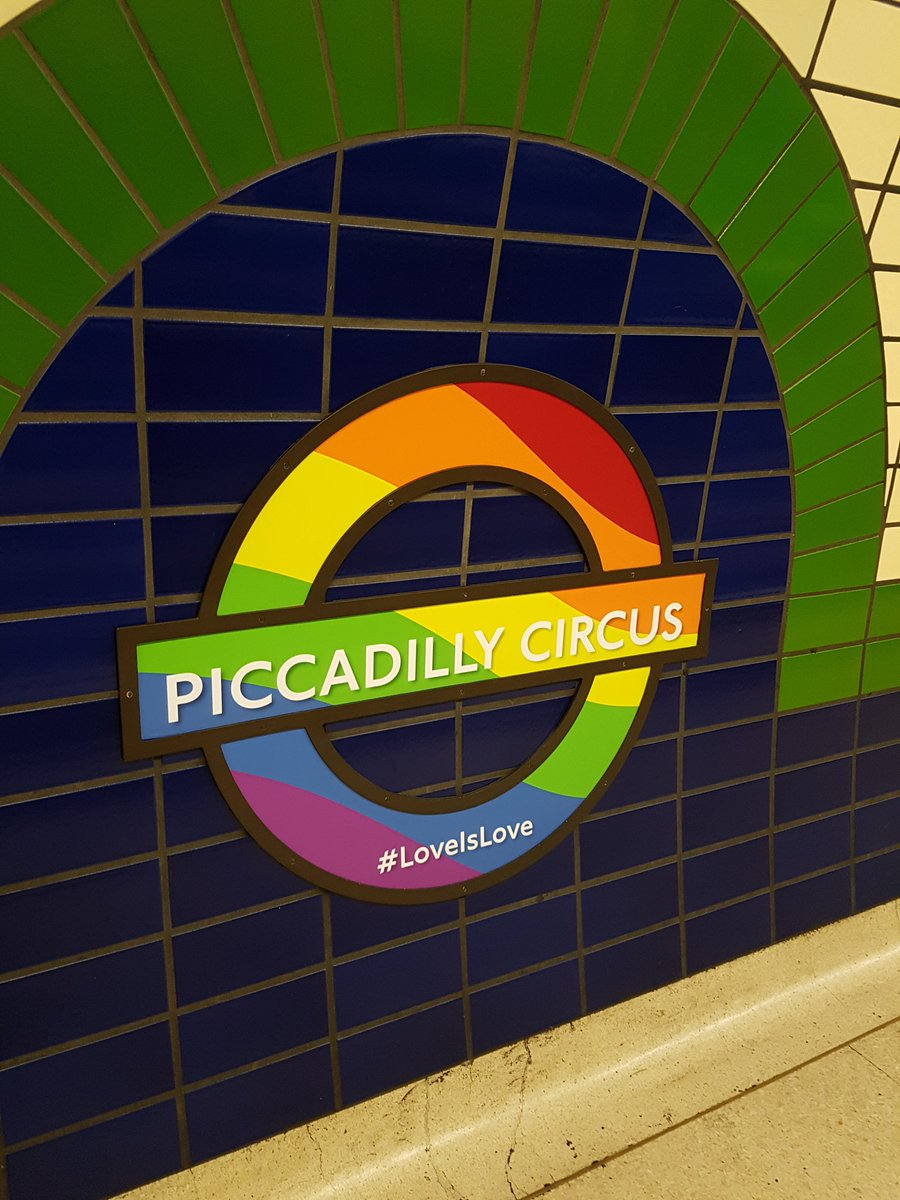 Spotted on the tube - at Piccadilly Circus @LondonLGBTPride @TfL #LoveIsLove #Pride2017 https://t.co/QYQtS2eOon