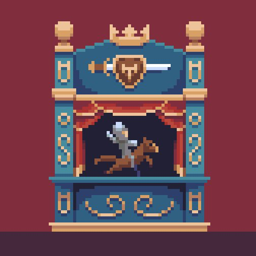 Knight on the #stage of a puppet show for #pixel_dailies @Pixel_Dailies. #pixelart #aseprite<br>http://pic.twitter.com/vEl2zSuEFf
