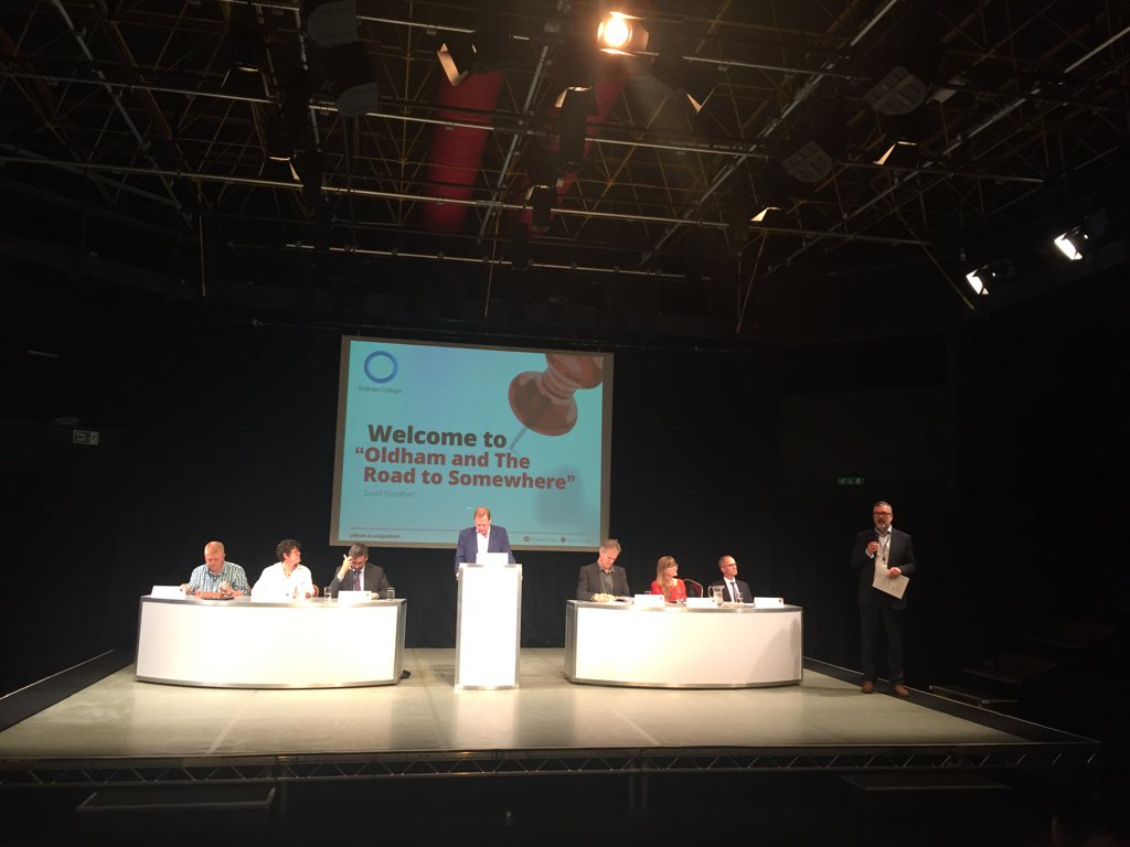 At @OldhamCollege Road to Somewhere #skills debate w @David_Goodhart @CWilkinsOldham @ruthlupton @AndyWWestwood #localgov #inclusivegrowth <br>http://pic.twitter.com/QBodOA21IN