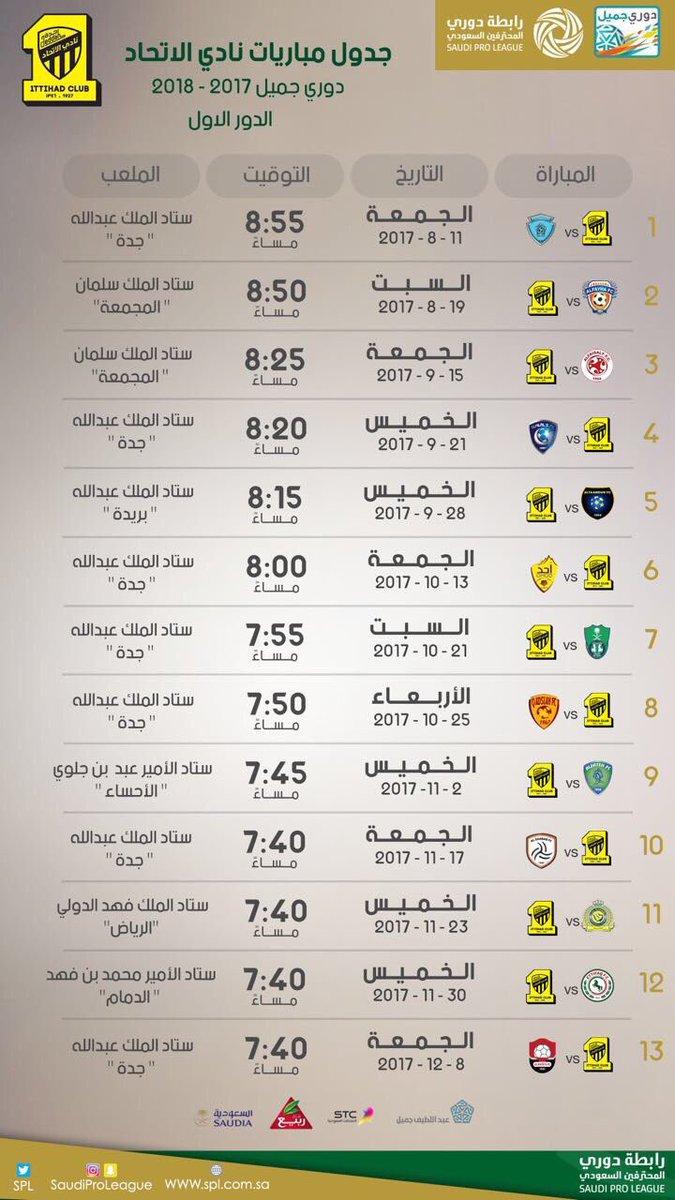 علاء سعيد Ar Twitter صورة تظهر جدول مباريات الاتحاد في