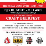 Don't miss our 2nd Annual CRAFT BEERFEST @ DJ's 180th & Q location ONLY, Thurs 6/29 from 6p-9p! This is a FREE Event with 50+ Beers featured