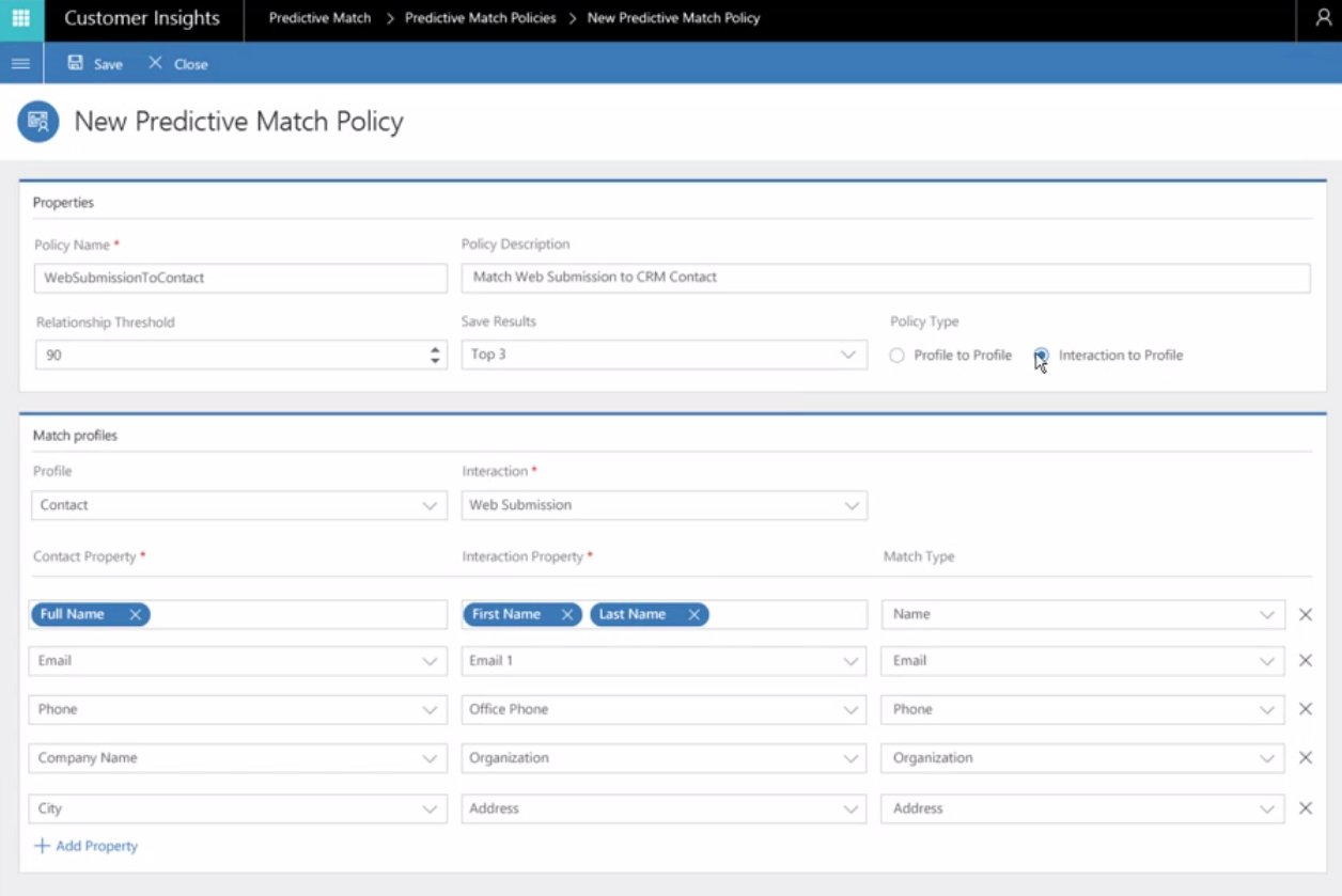Example of how the Customer Insights Predictive Match Policies can be defined. Very interesting matching logic coming to #MSDyn365! https://t.co/QCqP1SLzlw