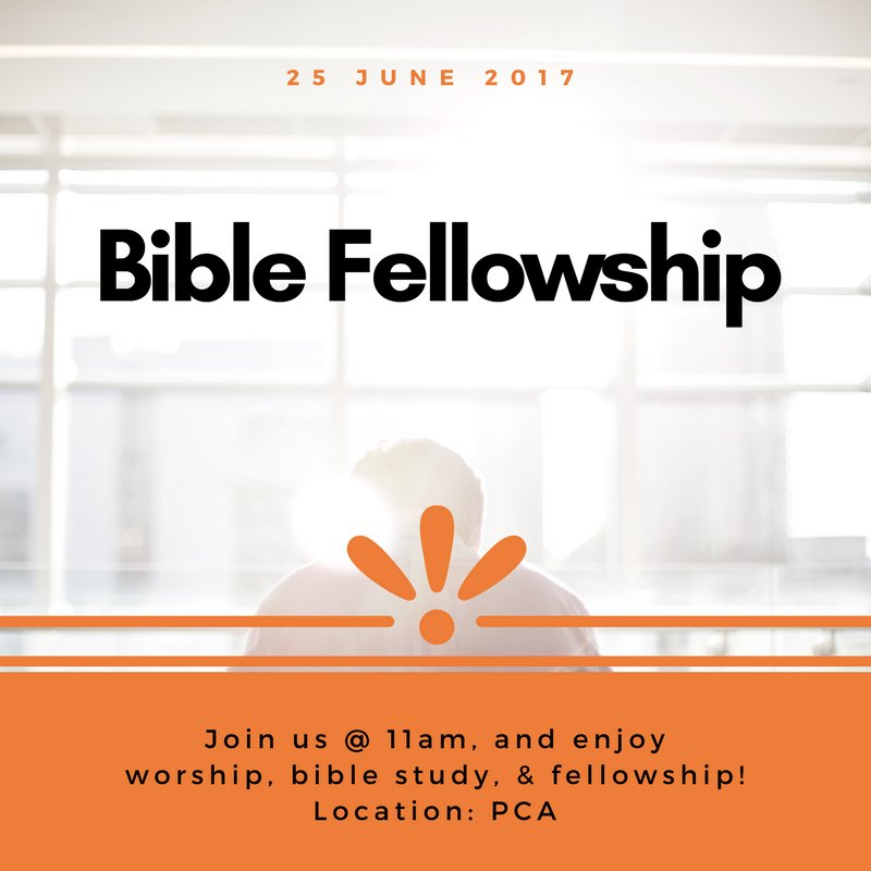 Bible Fellowship is happening this Sunday! Grab a friend and come join us!