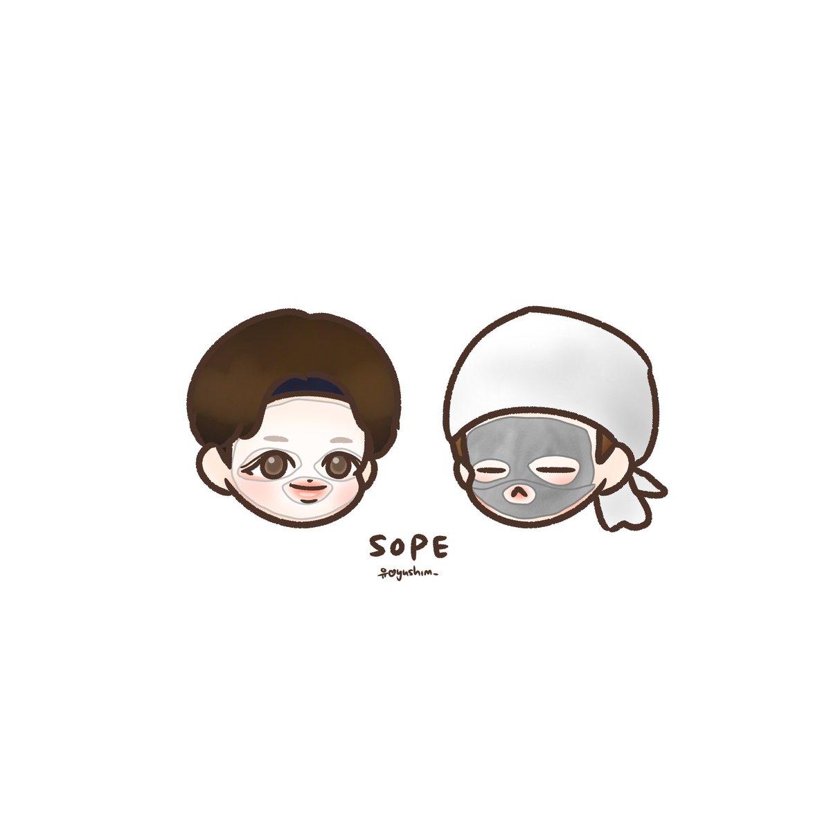 SOPE x sheet mask #호석 #윤기 #솝 #jhope #yoongi<br>http://pic.twitter.com/BMTJRbAOQW