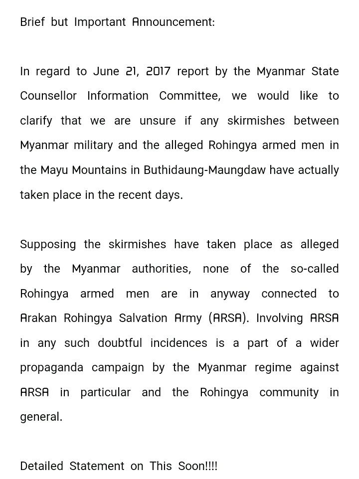 Clarification on report by #Myanmar State Counsellor Information Committee of alleged skirmishes btwn Myanmar military &amp; #Rohingya armed men<br>http://pic.twitter.com/Gr6n2P5Hay