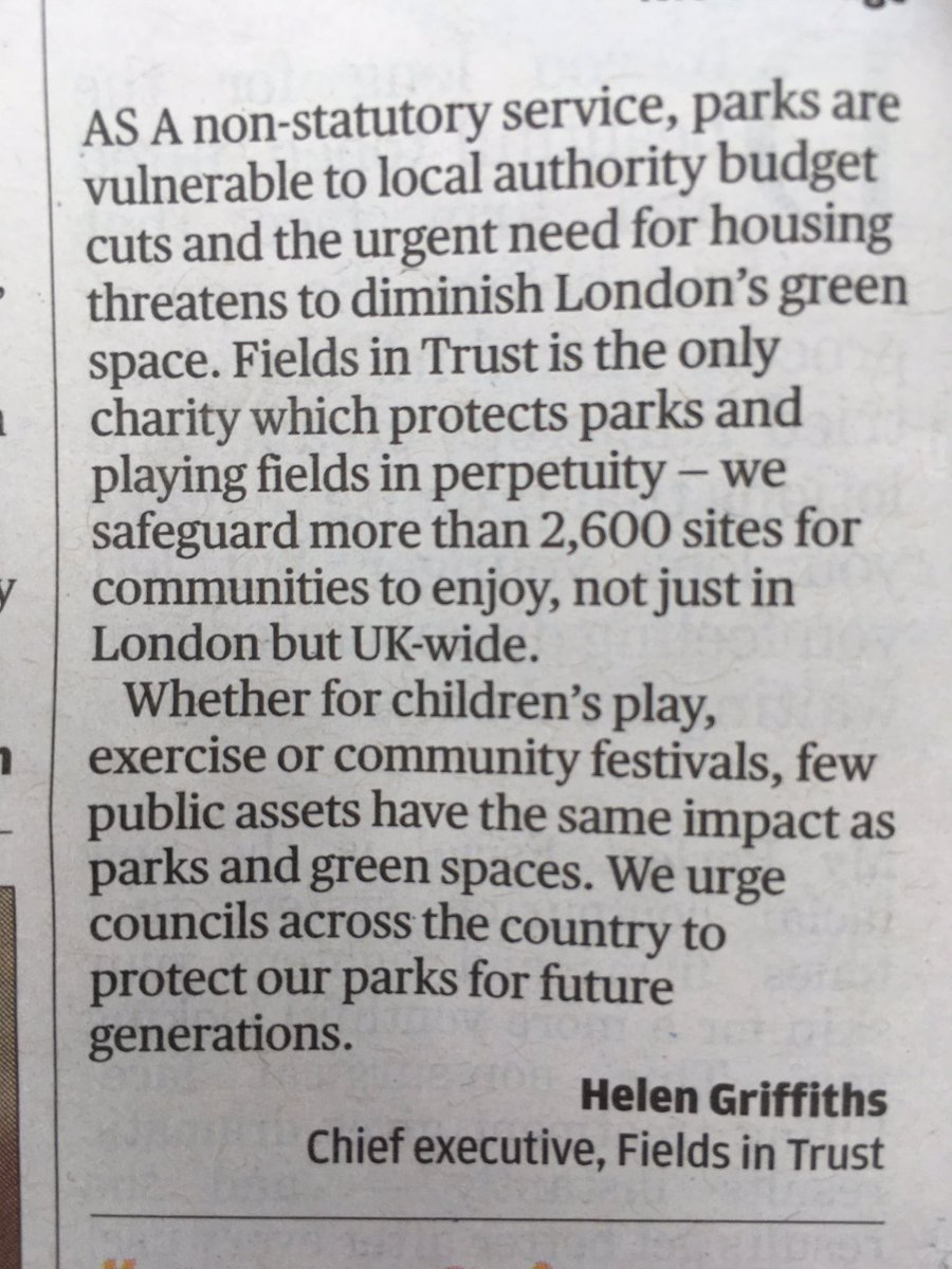 &quot;...few public assets have the same impact as parks and green spaces&quot; - Precisely. @FieldsInTrust in #London Evening Standard @esviews<br>http://pic.twitter.com/plsd3Nrd4d