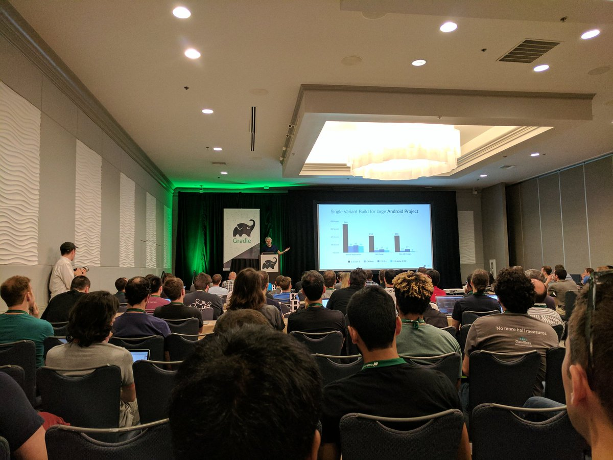 Pretty amazing build times improvements with Gradle 4.0 and Android Gradle plugin 3.0 #GradleSummit keynote #androiddev <br>http://pic.twitter.com/xHeigYFyuZ