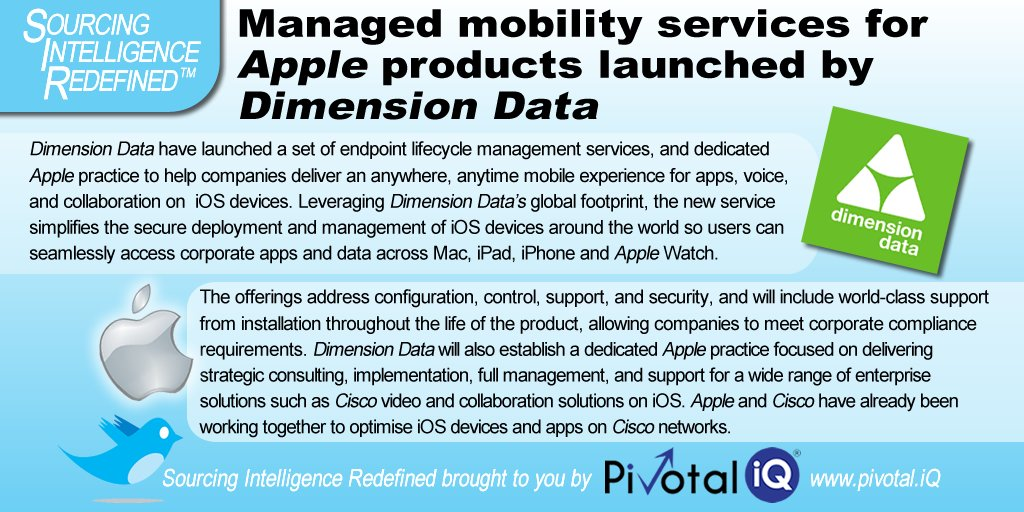Managed #Mobility services for @Apple products launched by @DimensionData - #enterprise #solutions #enterprisemobility #iOS<br>http://pic.twitter.com/gzAmKYU3FA