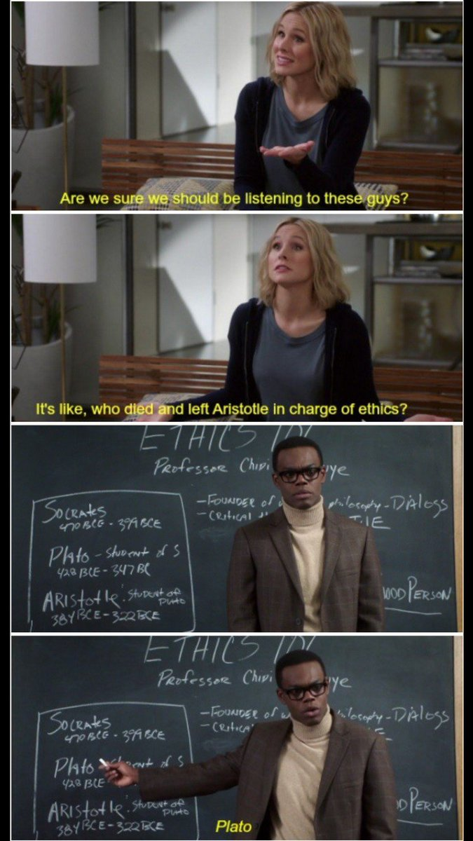 And the essential #TheGoodPlace quote #ethics #VirtueEthics https://t.co/UzKvESK7lU