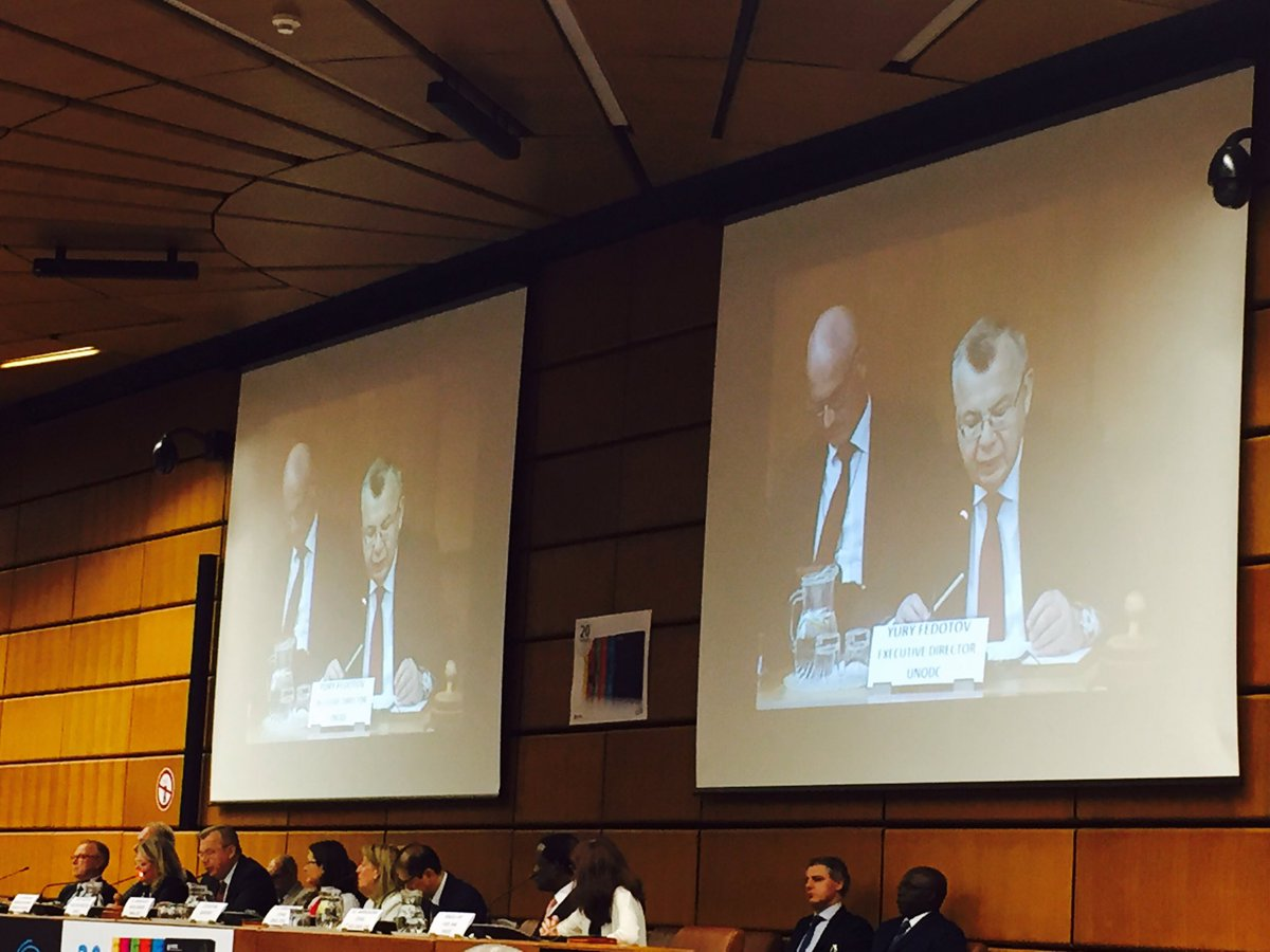 .@UNODC EXD @YuryFedotov &amp; Chair of #CND @BenteAngellH launching World Drug Report 2017 NOW! Live stream at  http:// bit.ly/2sYtN2x  &nbsp;   #WDR17<br>http://pic.twitter.com/mh0BRSeJlM