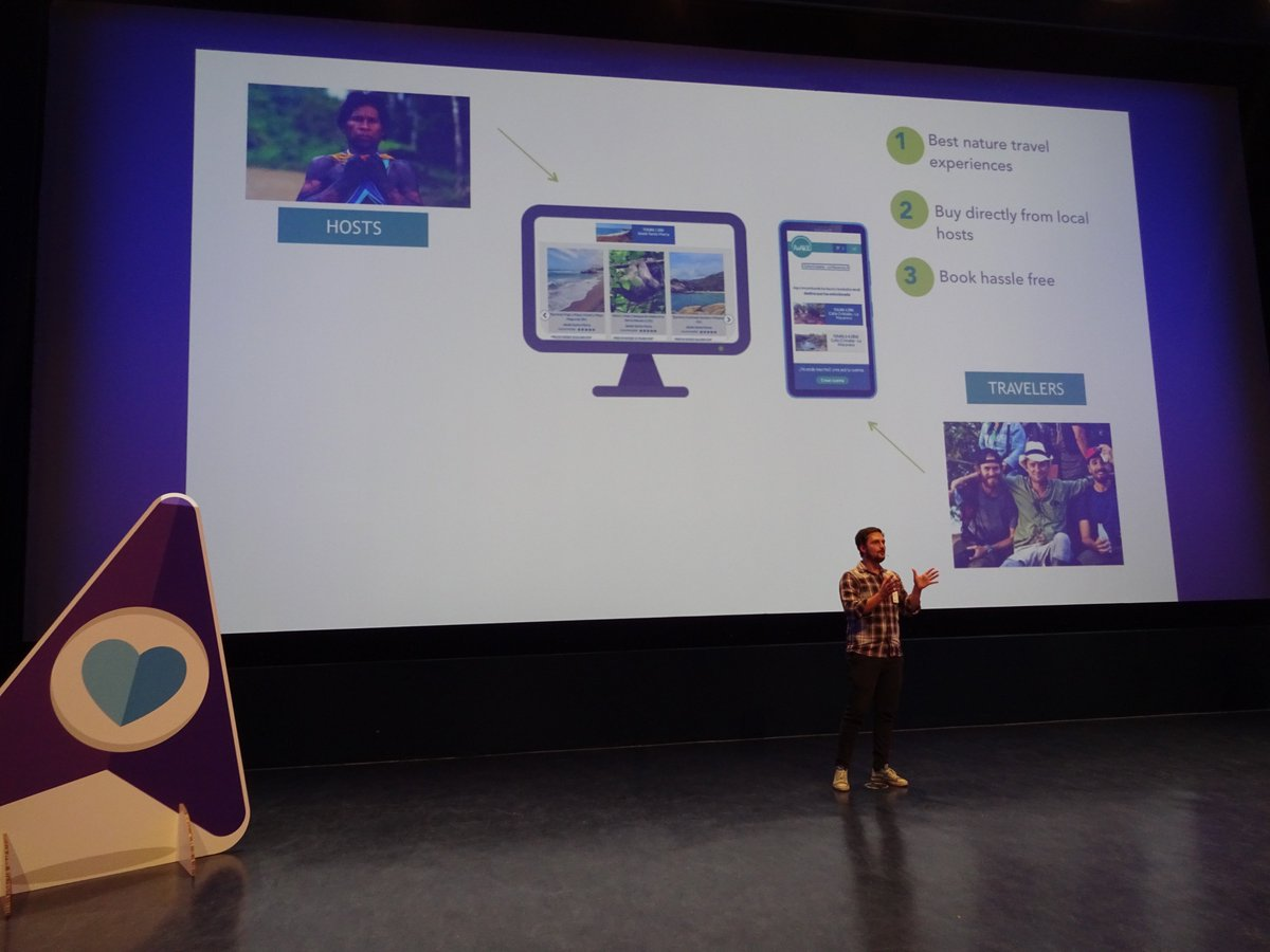 2nd #startup at @bookingcom&#39;s #BookingBooster final is @Awake_travel: &quot;We will use tourism as a force for global #biodiversity conservation&quot;<br>http://pic.twitter.com/qz35B5Gq7L