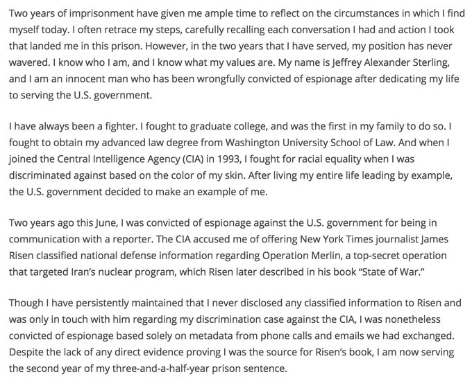 CIA whistleblower Jeffery Sterling imprisoned for calling New York Times reporter [that's why we don't take calls]  https://t.co/0HjotL37zA