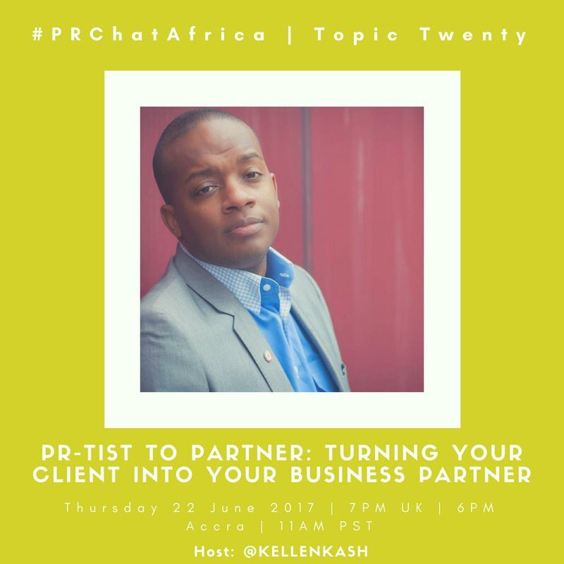 Counting down to #PRChatAfrica this evening. The business #partnership journey between agency and client. #PR #communications. 8pm SA-time <br>http://pic.twitter.com/3VehCjqd9U