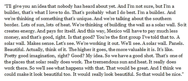 Here is a transcript of Trump's remarks on his 'solar wall.'