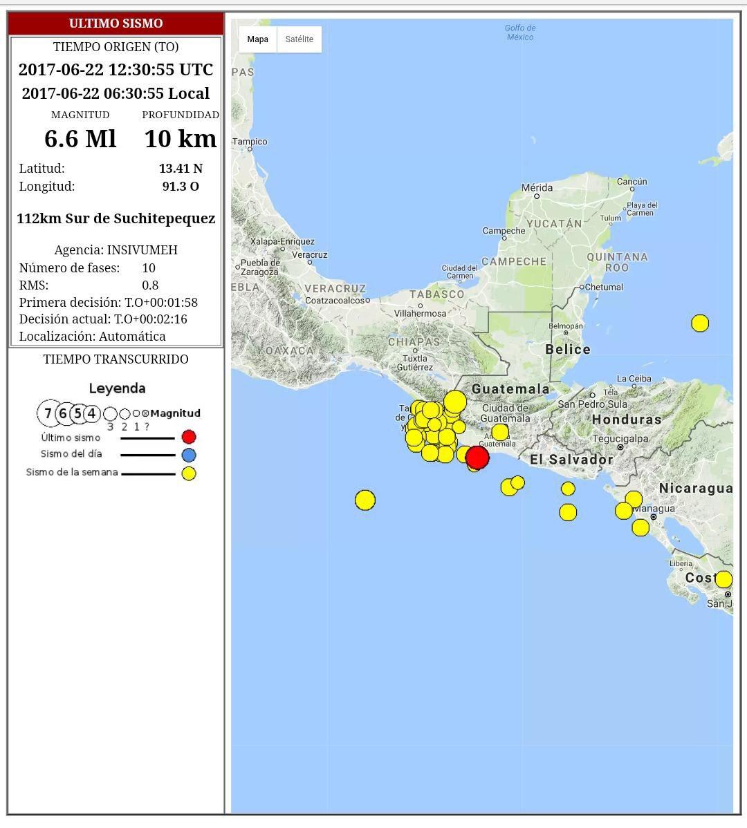 Información PRELIMINAR #TemblorGT 6:30 horas, magnitud 6.6, epicentro...