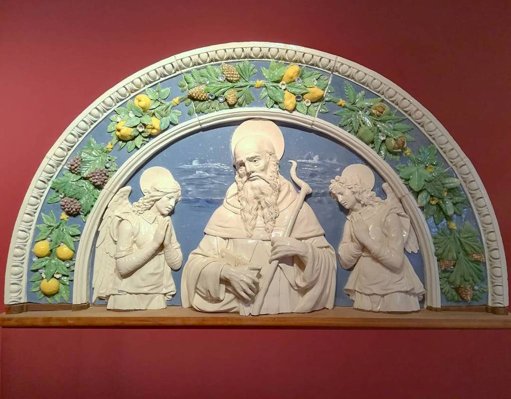 #AndreaDellaRobbia #AntonyTheGreat with two #angels #maiolica #PalazzoPretorioPrato #Prato https://t.co/fGgTQ1j362