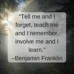 """Tell me and I forget, teach me..."" –Benjamin Franklin #99NFL #DrJasonCarthen #LeadersofTomorrowInitiative #LeadershipLinebacker"