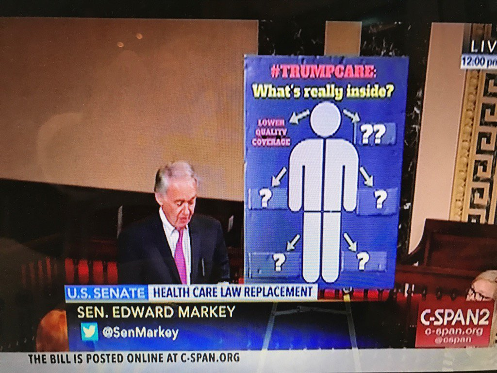 Ed Markey #Trumpcare striptease happening now