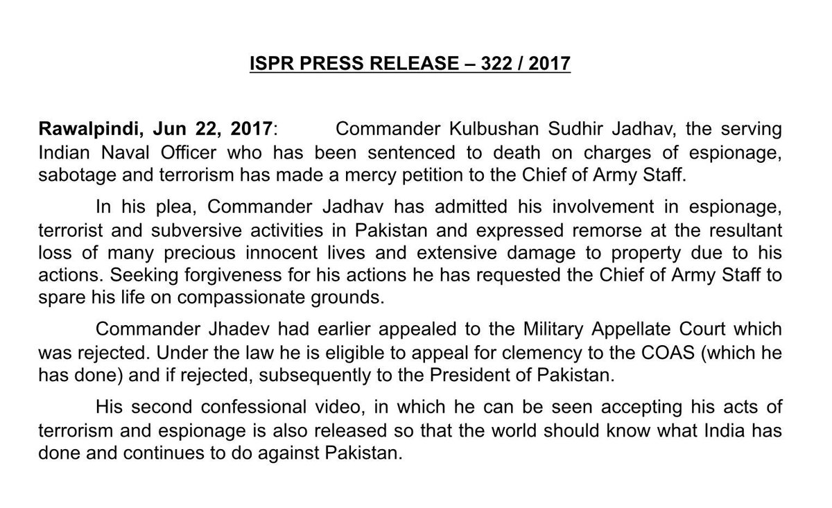 Kulbhushan Jadhav files mercy petition with Pakistan army chief