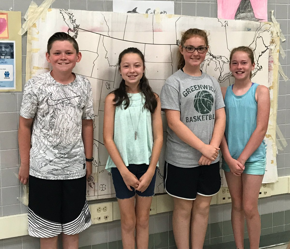 Our winning team from the annual Fifth Grade Geography Bowl - Noah, Caroline, Sophia and Dorothy. Congratulations Mr. Andrew&#39;s class! #GES <br>http://pic.twitter.com/B0boBAnlJl