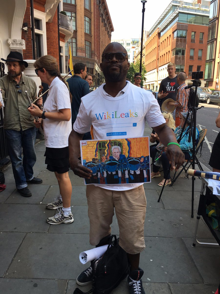 Thank you @toonpunk23 for your beautiful art, here a #WikiLeaks supporter at the solidarity vigil in support of Julian #Assange 19/06/17. <br>http://pic.twitter.com/9nhKpV5y2s