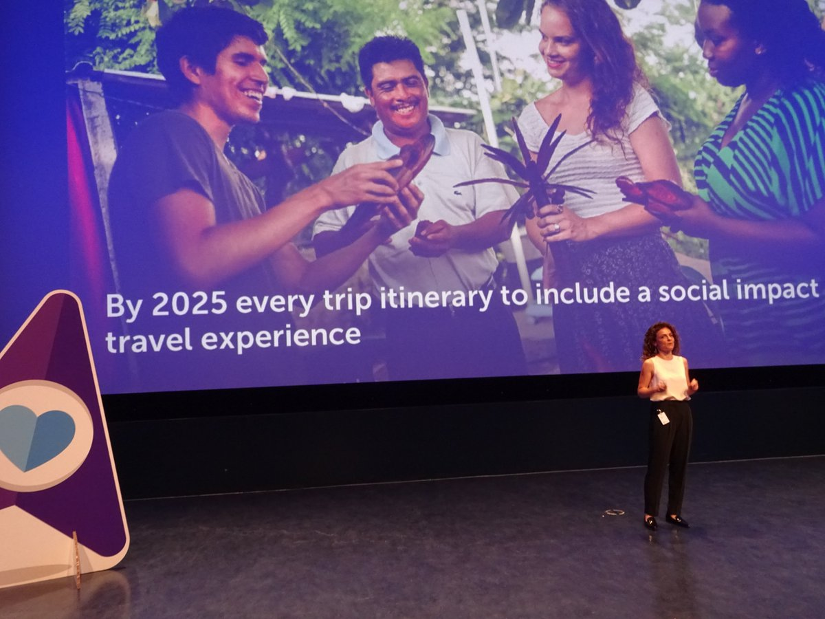 Last pitch at the #BookingBooster final is by @VisitDotOrg, who want all #tourism itineraries to include a social #impact experience by 2025<br>http://pic.twitter.com/6WqvoKppdH