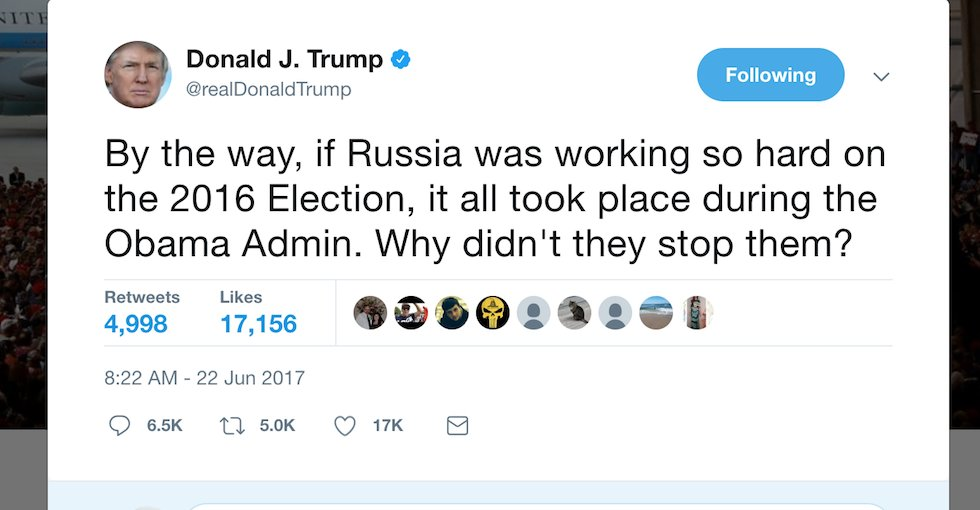 Trump: If Russia interfered in election, why didn't Obama stop it? https://t.co/zNeTEDBVPm