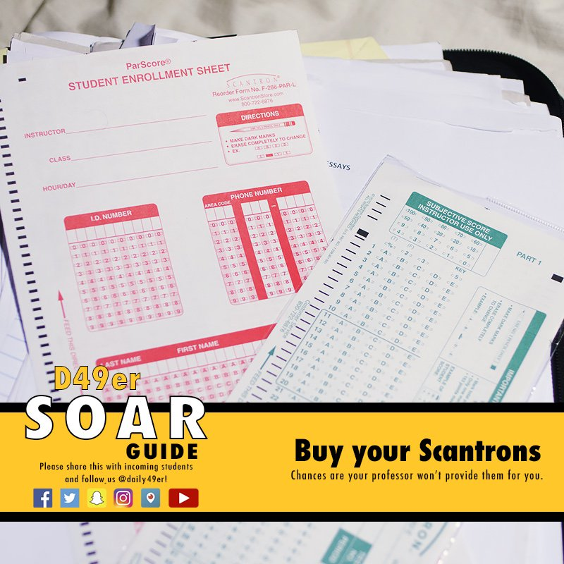 SOAR Guide: Be sure to buy your Scantrons because chances are your professor won't provide them on tests.  #CSULB #CSULBSOAR #School #Test https://t.co/CIcxlHljSq