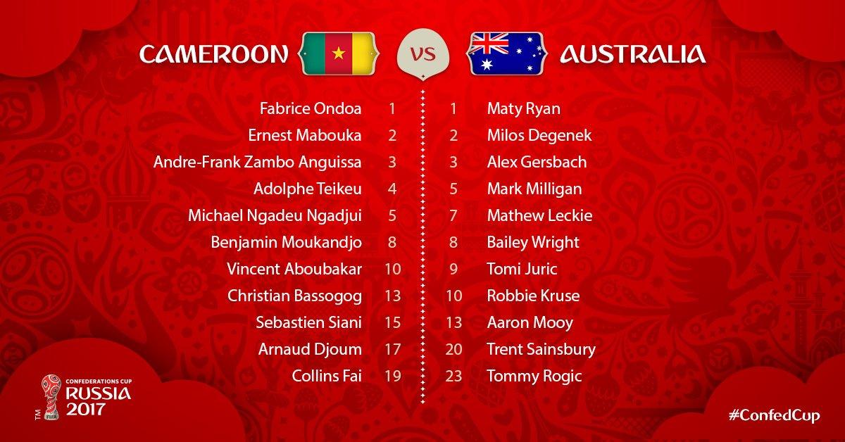 #CopaConfederaciones | Alineaciones: Camerún vs Australia: https://t.c...