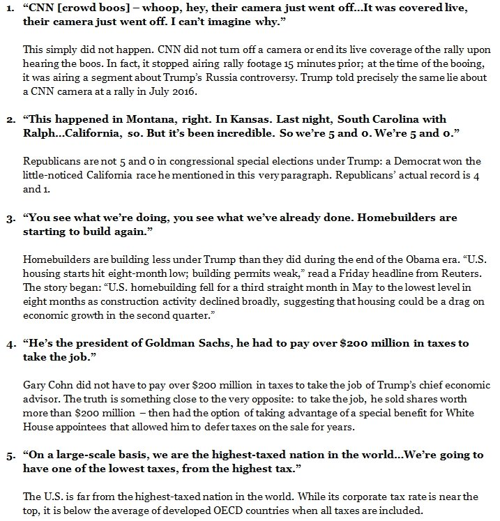 Trump made EIGHTEEN false claims in his campaign speech last night. Some were abject lies. Please read the list: https://t.co/ZgfmJdz7Bq