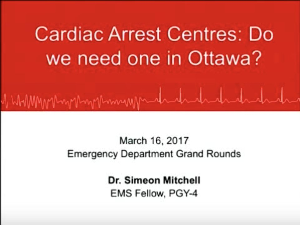 Cardiac Arrest Centres: Do we need one in Ottawa? Check out these fantastic #Grandrounds #conference from @smitch_87  https:// youtu.be/dsoA9KJDkjU  &nbsp;  <br>http://pic.twitter.com/bpPi9O8Vve