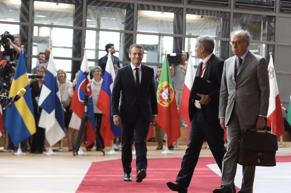 Arrivée au Conseil européen pour porter avec ambition le projet d'une Europe qui protège. #EUCO
