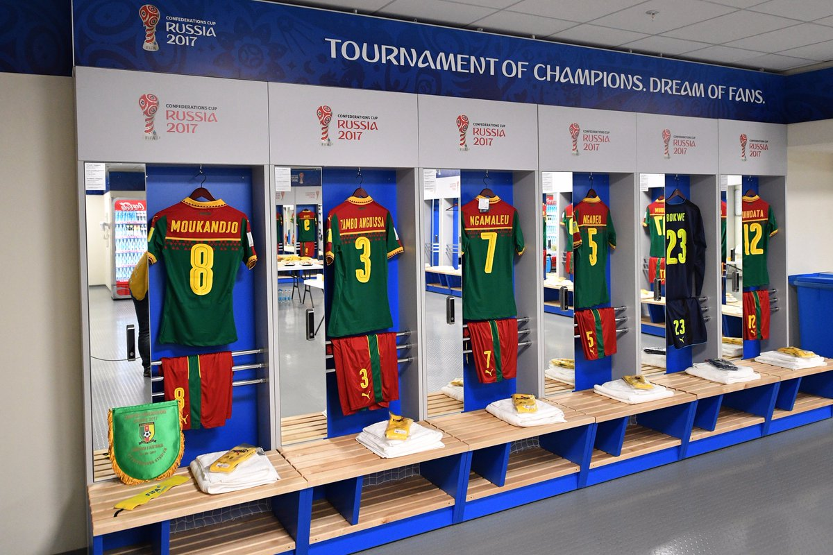 📸🇨🇲🇦🇺 Inside the changing rooms ahead of #CMRAUS #ConfedCup https://t....
