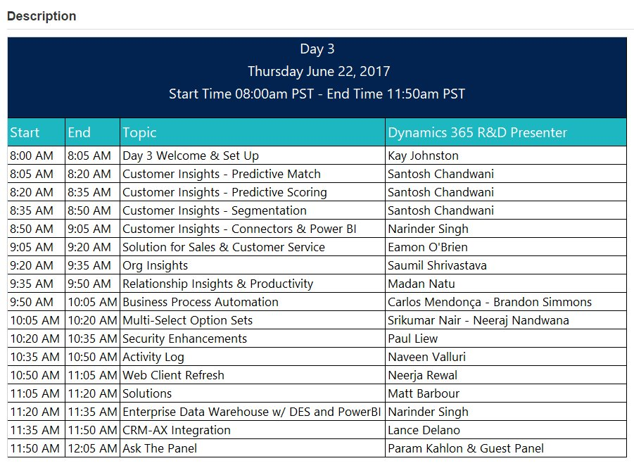 Dynamics 365 Preview Executive Briefing, Day 3. #MSDyn365 Agenda: https://t.co/sqV6YSGYb8